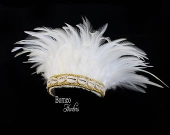 Feather Headdress Real Natural white Feather On A woven Base Decorated With Cowries And Golden Beads Bohemian Dreamy Burlesque Party Costume