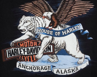1989 HARLEY DAVIDSON ALASKA t shirt - vintage 80s - the last frontier - anchorage