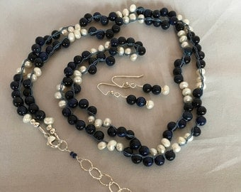 Lapis Lazuli and Fresh Water Pearl Gemstone Boho Long Necklace, Hand Crochet on Pure Silk Thread,  Matching Earrings & Sterling Silver