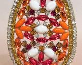 Large Colorful Rhinestone Easter Egg Vintage Decoration Czechoslovakia L47