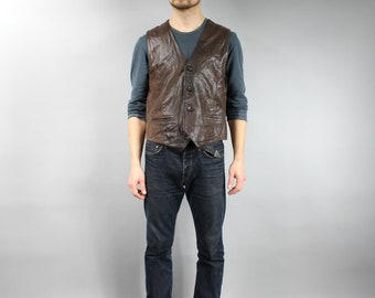 Vintage Brown Biker Vest . 80s Rocker Genuine Leather Vest for Men . Button Down Steampunk Grunge Brown leather Gilet Motorcycle Waistcoat L