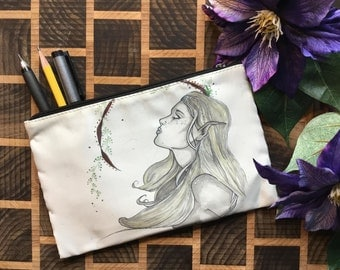 Original Artwork Cosmetic - Pencil- Stuff Bag By Kayla Klassy