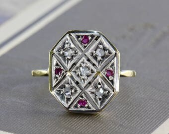 Antique Diamond & Ruby Ring, Victorian Rose Cut Diamond 14k and Sterling Statement Bridal Jewelry, Anniversary Gift
