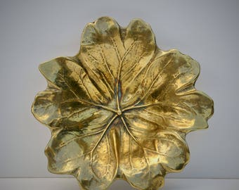 Vintage Brass Leaf Dish, 1940's May Apple Footed Bowl, Sculptor Oskar Hansen, Norway, Collectible Decorative Metal Arts, Coin Trinket Tray