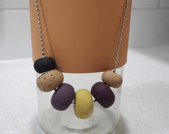 Mustard and plum polymer clay bead necklace