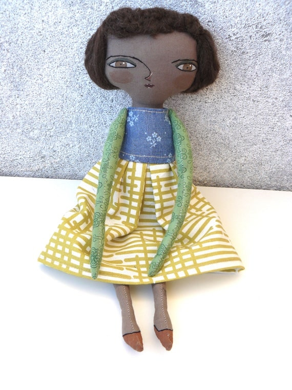 Black Art doll. Painted and embroidered by hand. Merino wool hair. 32 cm.