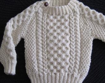 Irish Aran 100% Wool Toddler Sweater, Design C
