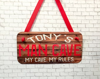 Gift for Him, Man Cave Sign, Personalized Sign for Dad, Personalized Sign, Door Hanger, Wall Sign, Custom Gift, Man Cave Decor, Wall Sign