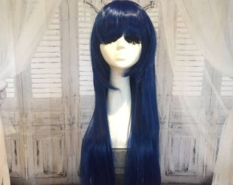 Long Blue Black Straight Wig With Bangs Goddess Length Cosplay Wig #31