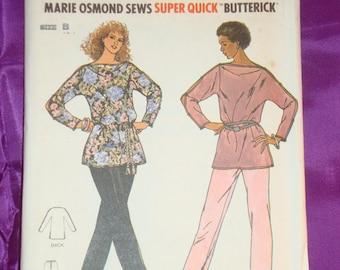 1970s 70s Vintage Marie Osmond BoHo Tunic Bateau Neck Long Sleeves n Pants UNCUT Butterick Pattern 6268 Bust 32.5 34 36 US 83 87 92 CM Easy