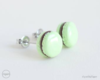 Mint Chocolate French Macaron Stud Earrings - Faux Food Earrings - Polymer Clay Miniature Food Jewelry