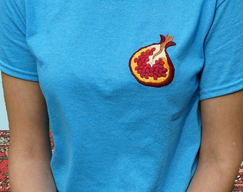 Hand-embroidered Pomegranate T-shirt