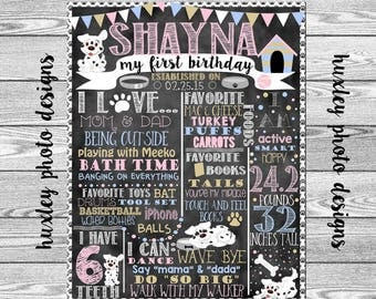 "Puppy Birthday Stat ""Chalk board"" (Digital Poster)- ANY COLORS"