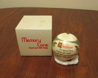 "Vintage 1970s Christmas tree ornament decoration styrofoam ball holly and bells original box Memory Lane 10 1/2"" circumference (71217)"