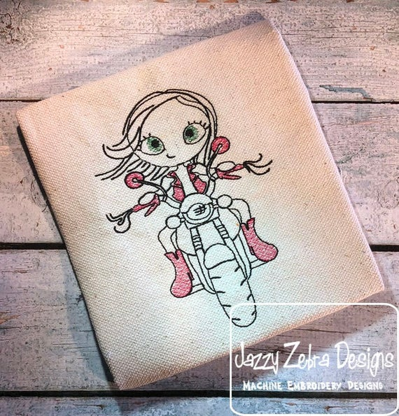 Swirly girl with Motorcycle 2 sketch embroidery design - swirly girl embroidery design - girl embroidery design - motorcycle sketch design