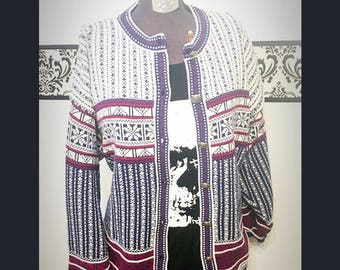 1980's Norwegian Hipster Knit Pattwrn Cardigan, Size XL,  Vintage Button Ip Ski Sweater, 80's Plus Size Winter Grunge Cardigan Sweater