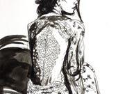 Couture Original Art Fashion Illustration Sketch Mini Wall Art
