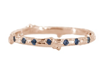 Twig ring with scattered sapphires in 14kt gold