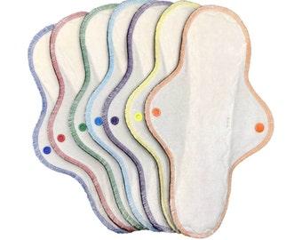 "Set of 7 (seven) 12"" bamboo velour heavy/ultra absorbency cloth menstrual pads, mama cloth, reusable menstrual pad"