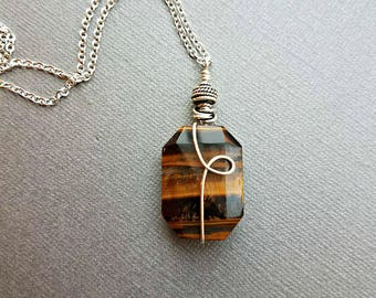 Silver wire wrapped tigers eye stone with sterling silver bead and pewter spacers//tigers eye pendant necklace//tigers eye necklaces
