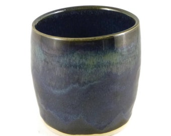 Blue green small cup - pottery - ceramic - tea cup - smudge stick holder
