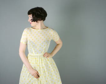 50s L'AIGLON sheer cotton dress in YELLOW polka dot print - full skirt New Look / Mid Century dress in finest see through cotton - S