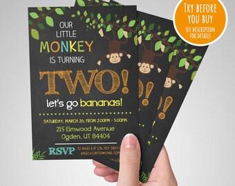 Safari Birthday Invitation, Monkey Birthday Invitation, Jungle Birthday Invitation, Second Birthday Invitation Printable
