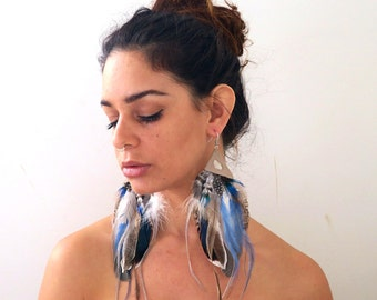 Big feather earrings, cruelty-free feather earrings, matching feather earring pair, festival fashion, blue natural feathers, long earrings
