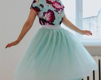 Mint Tulle skirt women, made of honor tulle skirt, pastel green tulle skirt for women, hen party tulle skirt, knee length tulle skirt