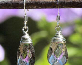 Wire Wrapped Faceted Smoky Quartz Drop Earrings