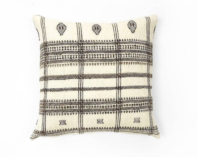 Handwoven Cream And Brown Natural Wool Indian Blanket Textile Pillow cover Various Sizes