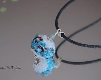 Handmade Lampwork Glass pendant * Sea Urchin ice * blue/chocolate - glass-murano glass - turquoise brown glass bead Sea Urchin pendant