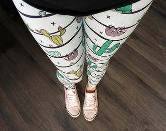 Leggings for woman and pregnant woman with cactus and sloth hanging on stripe, blue background, made of cotton spandex