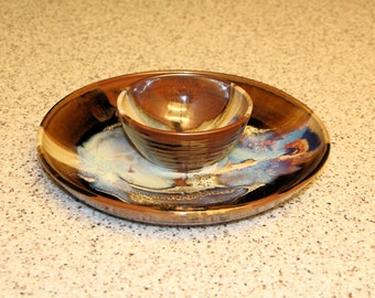 Vintage Chip and Dip Bowl, Stoneware Serving Plate, Handmade Pottery