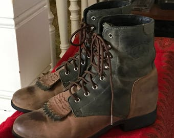 Ariat Roper Lace Up Western Boots/Women's 7/Two Tone Brown and Black Distressed Leather/Cowgirl/Horseback Riding/Hiking/Removable Kilties