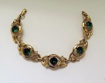 Vintage Bracelet With Gold-tone Green Stones 1950s-60s