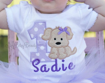Girls Puppy Birthday Shirt Or Bodysuit - Puppy Dog Birthday Outfit - Girls First Birthday Outfit - ANY COLORS , Custom Embroidered Shirt