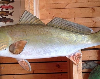"""Redfish 27 inch """"ready to ship"""" Wood carved red drum wall mount display"""