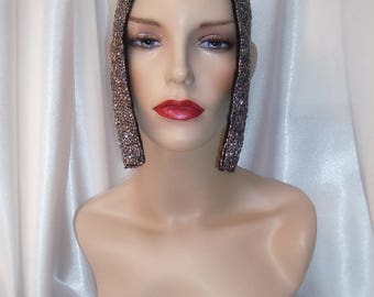 Silver Beaded Cleopatra Headpiece, Egyptian Inspired Headpiece, Queen of the Nile Headpiece