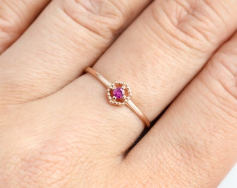 Ruby solitaire ring, hexagon ring, antique inspired ring, 14k rose gold, gold, yellow gold option mil-r101-2mm-rub