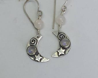 Hand Made Sterling Silver Moon Earrings with Moonstones