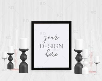 """Black Frame with Candles Mockup / Styled Stock Photography / 8""""x10"""" Frame / Black Rose Gold and White Candles with Black Frame Mockup"""
