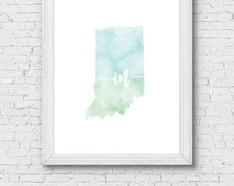 Indiana State Printable - digital download, watercolor, decor, clean and simple, minimalist art, usa state outline, state artwork, wall art