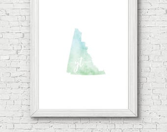 Yukon Territory Printable - digital download, dorm decor, clean and simple, watercolor, minimalist art, canada outline