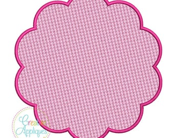 Embossed Scallop Monogram Frame Digital Machine Embroidery Design 15 Sizes, pile drop, nap tack down, embossed frame,