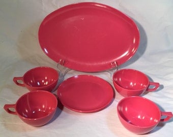 Stetson Sun Valley Melmac Dinnerware in Hot Pink: 1 Platter, 4 Coffee Cups, 2 Small Plates