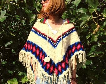 1970s Crochet Poncho Top w/ Fringe & Pom Pom | Striped Boho Sweater | Vintage Handmade Hippie Bohemian Fringed Cape