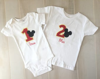 Mickey Mouse Birthday Shirt, Mickey Mouse Birthday Outfit, Mickey Mouse Shirt, Mickey Mouse Shirt, Personalized Mickey Outfit, Bow Tie Shirt