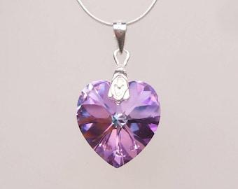 Purple Swarovski crystal bridesmaid necklace Sterling Silver purple crystal heart necklace lilac pendant necklace light vitrail jewelry gift