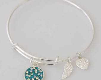 AA1058B Dark Aqua and Clear Pave Crystal Adjustable Wire Bracelet w Small Angel Wing & Heart Charms ~ Silver Plated